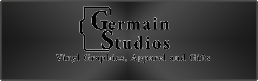 Germain Studios Banner, Vinyl Graphics, Custom Apparel, Personalized Gifts